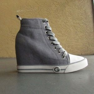 GUESS Grey Wedge Sneakers, Size 6